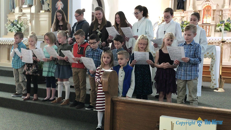 THE GIFT OF SONG—Saint Mary Catholic School students in Pierce City sang for parents and parishioners during Catholic Schools Week 2018. (<i>The Mirror</i>)