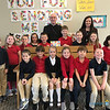 CLASS VISITS—Bishop Edward Rice visited each class during his Catholic School Week visit to St. Mary Catholic School in Joplin on Jan. 29. Here he is with Mrs. Bette Schoeberl's 2nd graders. (<i>The Mirror</i>)