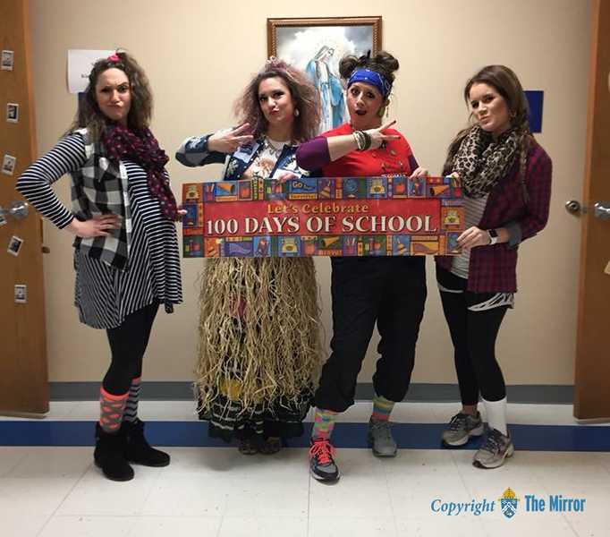 TEACHERS RULE—Sometimes those the best at hamming it up during Catholic Schools Week are the teachers, as proved by the faculty at Immaculate Conception School, Jackson. (<i>The Mirror</i>)