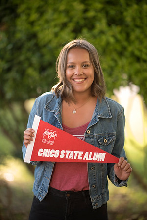 Student Elise Slusarz smiles for a photo at the annual Chico Chapter Spring BBQ that is held at the University Farm on Thursday, April 26, 2018 in Chico, Calif.  (Jessica Bartlett/University Photographer)