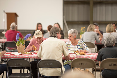 Guests enjoy the annual Chico Chapter Spring BBQ that is held at the University Farm on Thursday, April 26, 2018 in Chico, Calif.  (Jessica Bartlett/University Photographer)