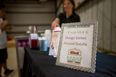 Shuberts ice cream is served at the annual Chico Chapter Spring BBQ that is held at the University Farm on Thursday, April 26, 2018 in Chico, Calif.  (Jessica Bartlett/University Photographer)