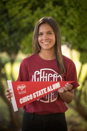 Student Selena Brewer smiles for a photo at the annual Chico Chapter Spring BBQ that is held at the University Farm on Thursday, April 26, 2018 in Chico, Calif.  (Jessica Bartlett/University Photographer)