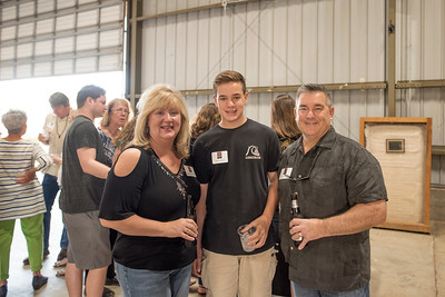 (From left to right) Wendy Needles, Ryan Needles, and Mike Needles enjoy the annual Chico Chapter Spring BBQ that is held at the University Farm on Thursday, April 26, 2018 in Chico, Calif.  (Jessica Bartlett/University Photographer)