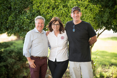 (From left to right) Rick Anderson, Sue Anderson, and Jeff Dicknson enjoy the annual Chico Chapter Spring BBQ that is held at the University Farm on Thursday, April 26, 2018 in Chico, Calif.  (Jessica Bartlett/University Photographer)