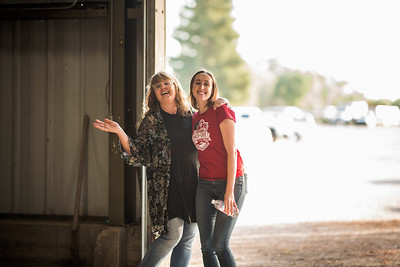 Daria Booth (left) and Kaitlin Ferguson (right) enjoy the annual Chico Chapter Spring BBQ that is held at the University Farm on Thursday, April 26, 2018 in Chico, Calif.  (Jessica Bartlett/University Photographer)