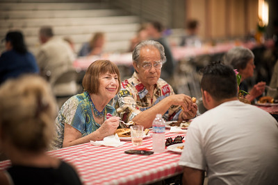 Sharon Salcido (left) and Manuel Salcido (right) enjoy the annual Chico Chapter Spring BBQ that is held at the University Farm on Thursday, April 26, 2018 in Chico, Calif.  (Jessica Bartlett/University Photographer)
