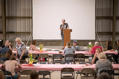 Dino Corbin speaks to the guests at the annual Chico Chapter Spring BBQ that is held at the University Farm on Thursday, April 26, 2018 in Chico, Calif.  (Jessica Bartlett/University Photographer)