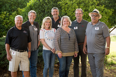 The Chico Chapter Board take a group photo together at the annual Chico Chapter Spring BBQ that is held at the University Farm on Thursday, April 26, 2018 in Chico, Calif.  (Jessica Bartlett/University Photographer)