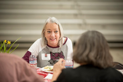 Kathleen Hassig (left) enjoys a conversation during the annual Chico Chapter Spring BBQ that is held at the University Farm on Thursday, April 26, 2018 in Chico, Calif.  (Jessica Bartlett/University Photographer)