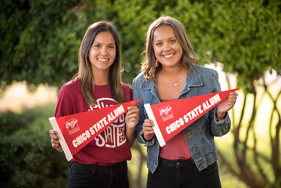Students Selena Brewer (left) and Elise Slusarz (right) take a photo together at the annual Chico Chapter Spring BBQ that is held at the University Farm on Thursday, April 26, 2018 in Chico, Calif.  (Jessica Bartlett/University Photographer)