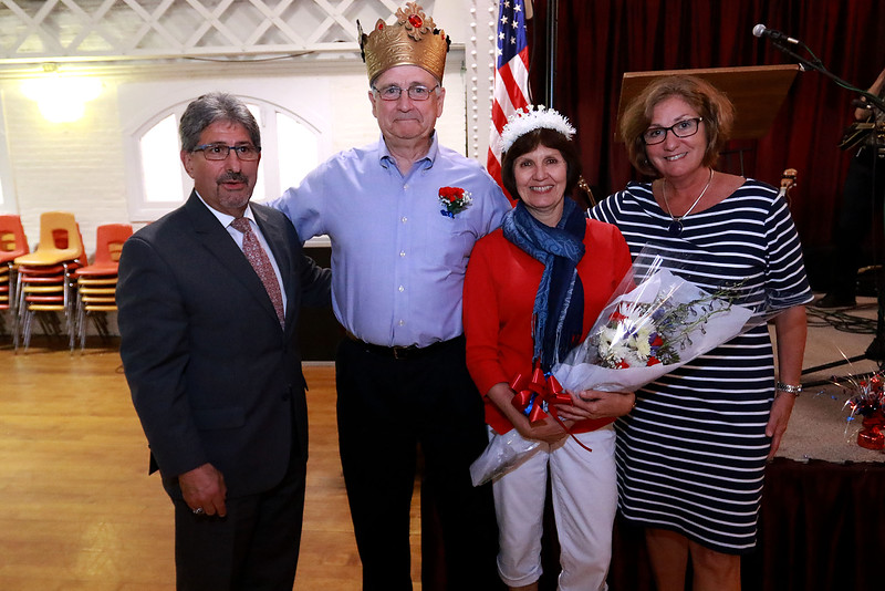 The Annual Civic Days kick off celebration and appreciation was held at the Fitchburg Senior Center on Wednesday afternoon. This is the celebration were they pick the king and queen of Civic Days. Entertaining the crowd at the event was the Vinny Prendergast & the Sons of Blarney band. Mayor Stephen DiNatale king George J. Bourque II, queen Susan Monsegur and Senior Center Executive Director Joan Goodwin posed for a picture during the ceremony to crown the king and queen. SENTINEL & ENTERPRISE/JOHN LOVE