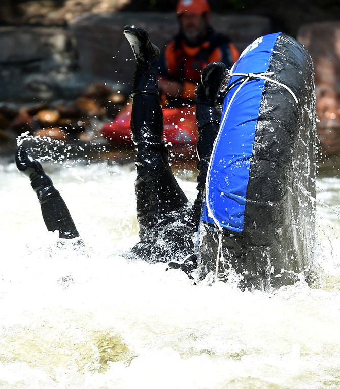 . A random tuber goes belly up on the kayak course at the 2018 Colorado Burning Can Fest at the Lyons Outdoor Games. For more photos, go to dailycamera.com. Cliff Grassmick  Staff Photographer  June 2, 2018