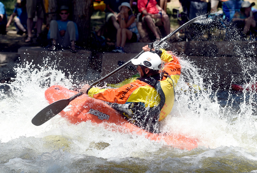 . Eric Jackson takes on the water during the pro competition at the 2018 Colorado Burning Can Fest at the Lyons Outdoor Games. For more photos, go to dailycamera.com. Cliff Grassmick  Staff Photographer  June 2, 2018