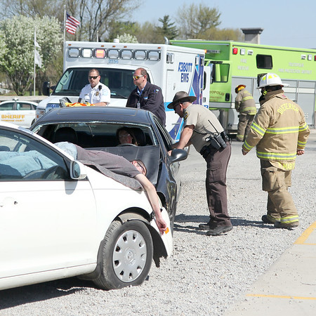 First responders arrive at a mock accident at the Dieterich School on Tuesday. The event was organized by Dieterich Fire Chief Ross Martin ahead of prom on Friday. Graham Milldrum photo