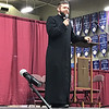 Fr. Joe Kelly answered questions that attendees had about the Church during the 25th Annual DYC. Fr. Kelly is associate pastor of Our Lady of the Lake Parish, Branson, and Our Lady of the Ozarks, Forsyth. (Photo by Margie Black/<i>The Mirror</i>).