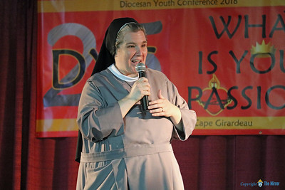 CO-KEYNOTE—Sr. M. Karolyn Nunes, FSGM, was one of the keynote speakers at DYC at the 25th annual Diocesan Youth Conference (DYC) held in West Plains March 23-25. (Photo by Margie Black/The Mirror)