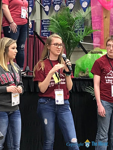 Emma Leach, From St. Peter the Apostle Parish in Joplin, shared what she learned in one of the workshops she attended at the 25th Annual DYC. (Photo by Margie Black/The Mirror)