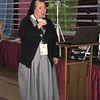 Sr. M. Karolyn Nunes, FSGM, sang karaoke at DYC. (Photo by Margie Black/<i>The Mirror</i>)