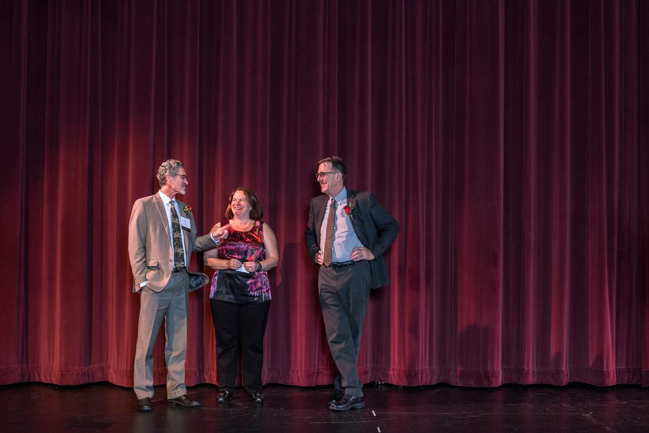Distinguished Alumni Tim Beach (GEOG, '82), Lori McAdams (COMM, '83), Stephen Jones (AG, '80) (left to right) are recognized during an evening dinner on Friday, March 9, 2018 in Chico, Calif.  (Jason Halley/University Photographer/CSU Chico)