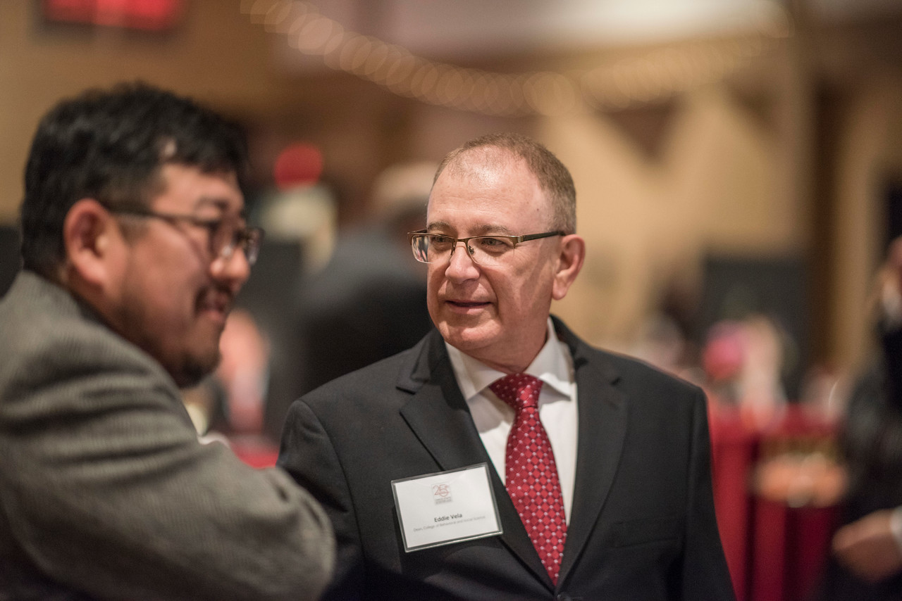 Eddie Vela (Dean, BSS) attends the Distinguished Alumni dinner on Friday, March 9, 2018 in Chico, Calif.  (Jason Halley/University Photographer/CSU Chico)