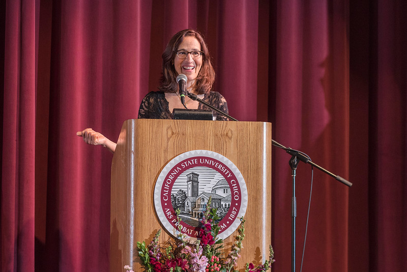 Distinguished Alumni Samia Yaqub (ENGL, '89) is recognized during an evening dinner on Friday, March 9, 2018 in Chico, Calif.  (Jason Halley/University Photographer/CSU Chico)