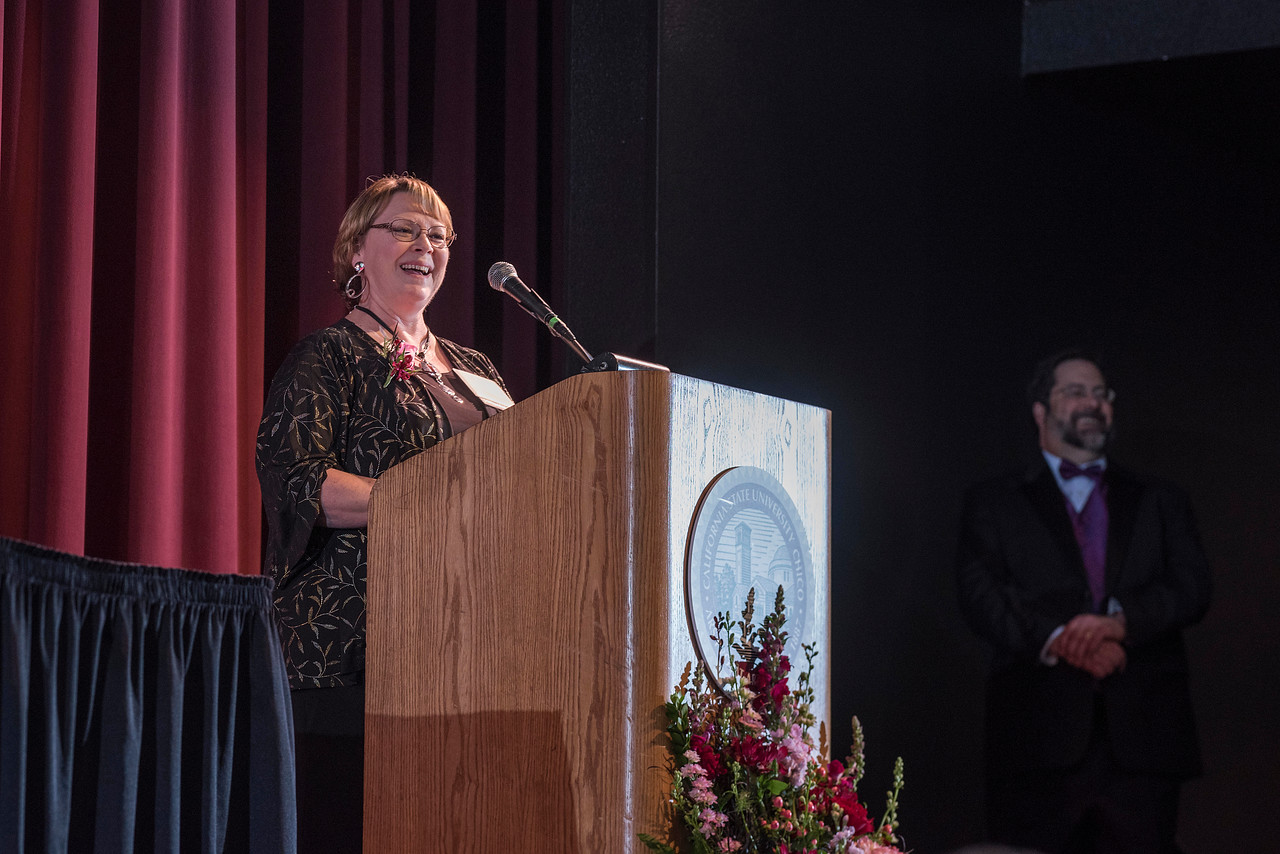 Distinguished Alumni Valerie Lucero (NURS, '83) is recognized during an evening dinner on Friday, March 9, 2018 in Chico, Calif.  (Jason Halley/University Photographer/CSU Chico)