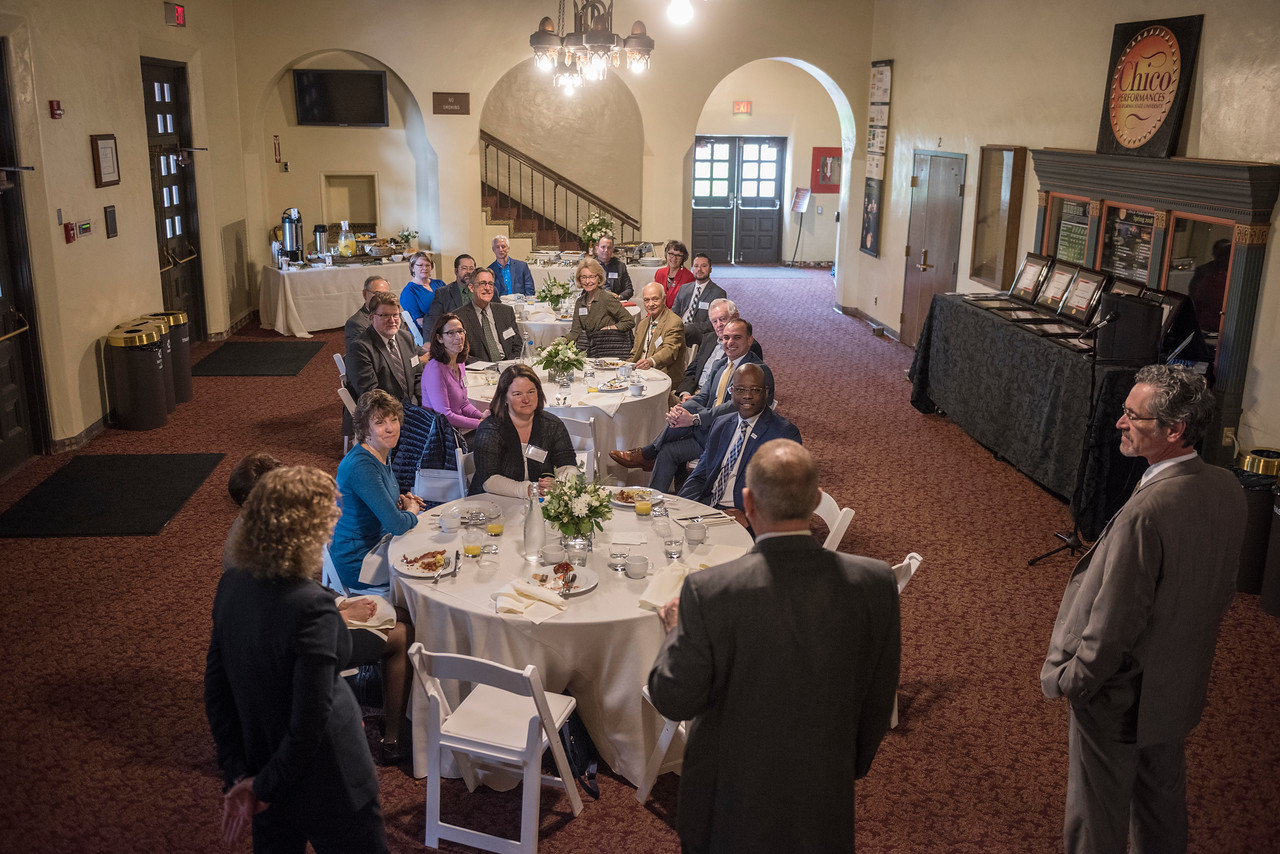 Distinguished Alumni are recognized during a breakfast with deans and CSAA representative in the Laxson Lobby on Friday, March 9, 2018 in Chico, Calif.  (Jason Halley/University Photographer/CSU Chico)