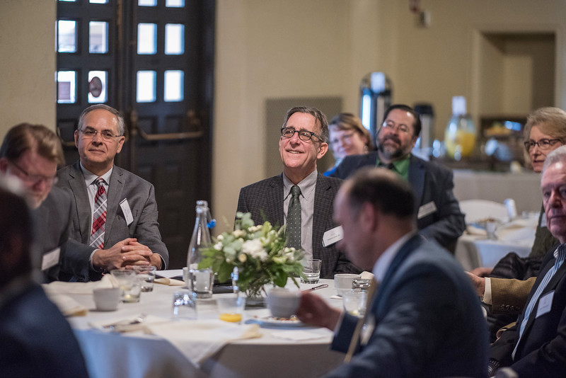 John Unruh (Dean, AG) (left), Stephen Jones (AG, '80) (right) and Distinguished Alumni are recognized during a breakfast with deans and CSAA representative in the Laxson Lobby on Friday, March 9, 2018 in Chico, Calif.  (Jason Halley/University Photographer/CSU Chico)