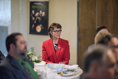 President Gayle Hutchinson attends a breakfast where Distinguished Alumni are recognized with deans and CSAA representative in the Laxson Lobby on Friday, March 9, 2018 in Chico, Calif.  (Jason Halley/University Photographer/CSU Chico)