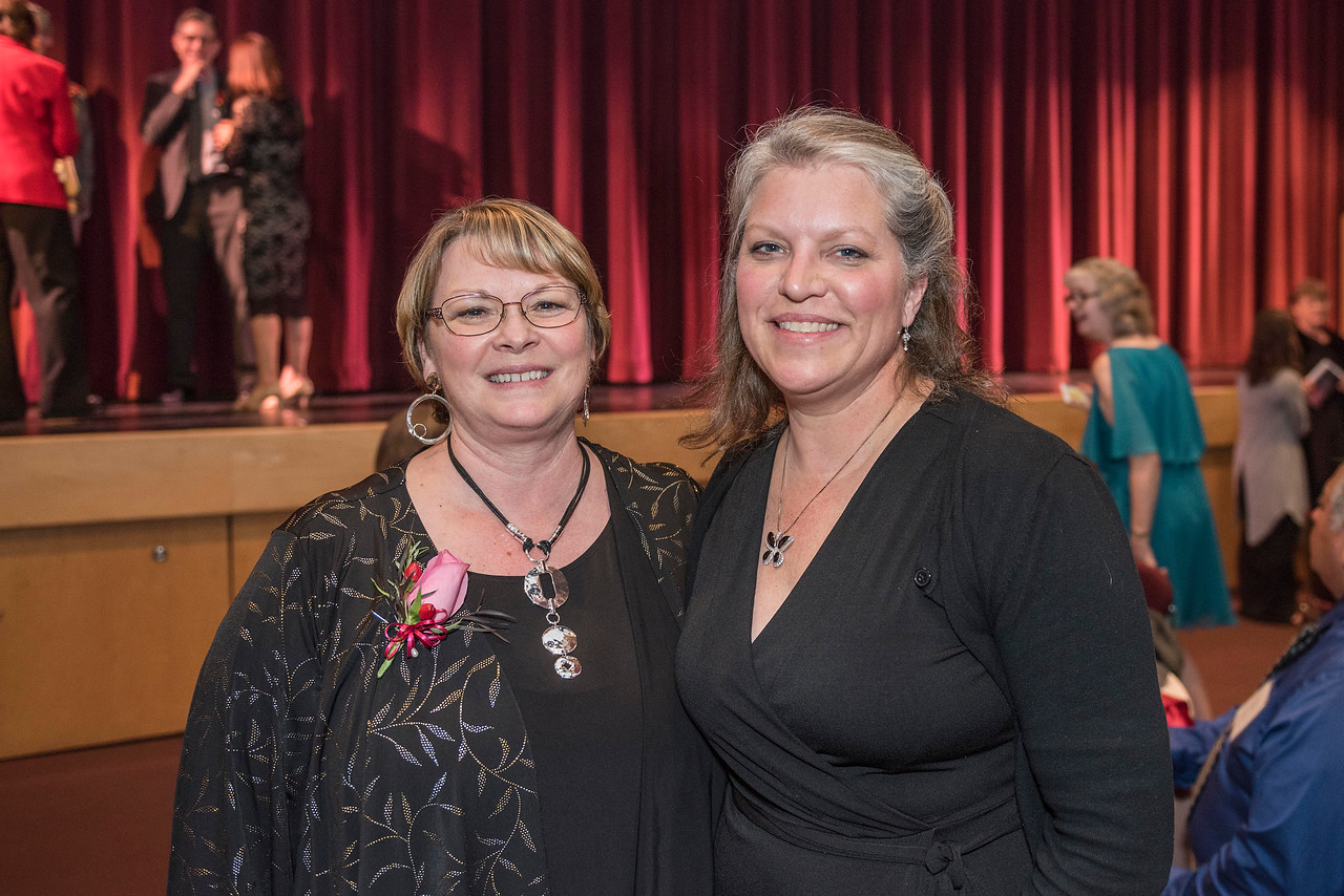 Valerie Lucero (NURS, '83) (left) and Distinguished Alumni are recognized during an evening dinner on Friday, March 9, 2018 in Chico, Calif.  (Jason Halley/University Photographer/CSU Chico)