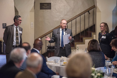 Eddie Vela (Dean, BSS) talks about the Distinguished Alumni that are recognized during a breakfast with deans and CSAA representative in the Laxson Lobby on Friday, March 9, 2018 in Chico, Calif.  (Jason Halley/University Photographer/CSU Chico)