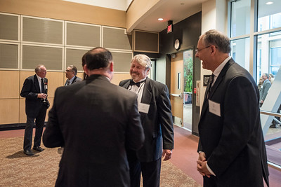 Graham Hutton (center) attends the Distinguished Alumni dinner on Friday, March 9, 2018 in Chico, Calif.  (Jason Halley/University Photographer/CSU Chico)