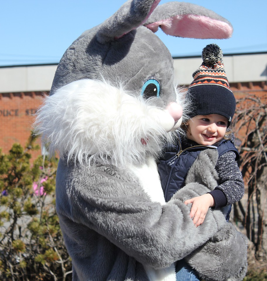 Charles Pritchard - Oneida Daily Dispatch Enzo Rinaldo, 2, meets the Easter Bunny at the town of Lenox Easter egg Hunt on Saturday, March 31, 2018.