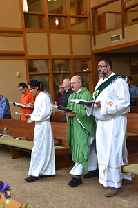Fr. Stephen Huffstetter, general councilor, had the first Mass of the assembly. He processes in with Paul (novice) and Dn. Juancho