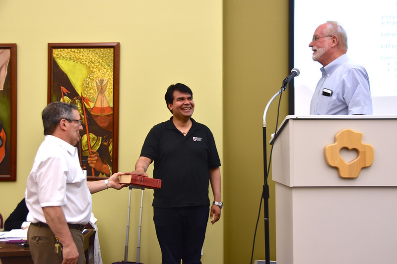 Angel, one of our postulants preparing for novitiate, is sworn in as a teller for the assembly. He would join the three Provincial Chapter tellers: Novices Henry and Paul, and Frater Huan