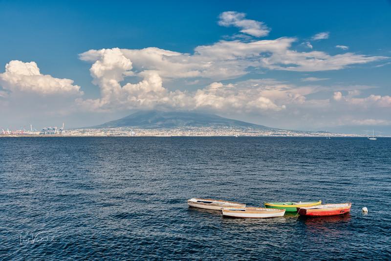 Fishing Boats and The Volcano - Naples, Italy.
