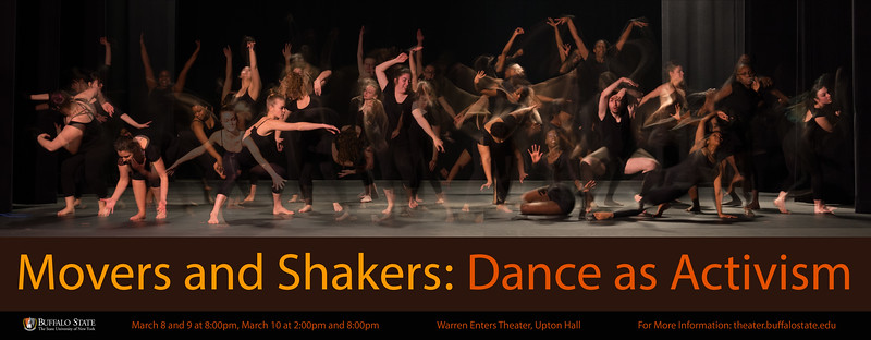 "Poster for ""Movers and Shakers: Dance as Activism"" at Buffalo State College."