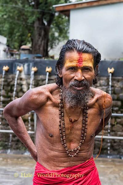 Sadhhu Showering At Muktinath