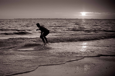 DA077,DB,Skim boarding at sunset