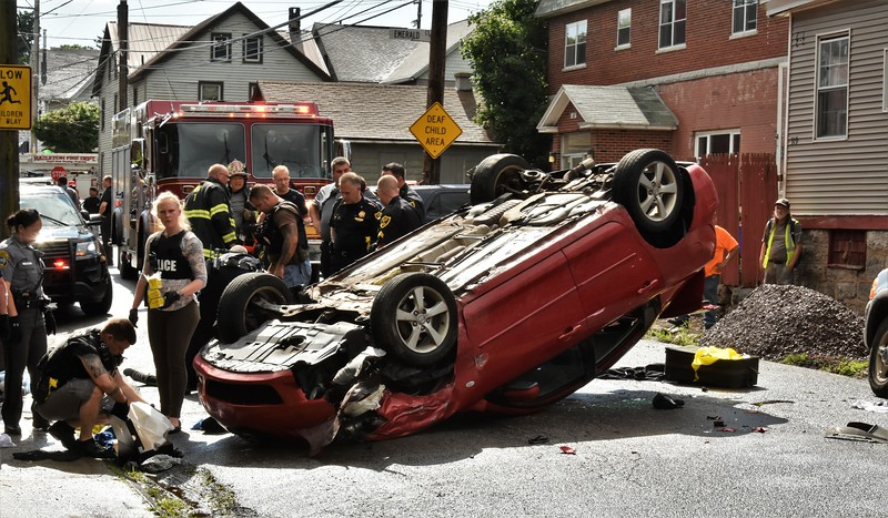 Hazleton city 139 mva rollover 1st and emerald ct. 6-28-18