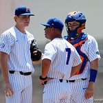 University of Florida Gators baseball head coach Kevin O'Sullivan comes out to calm down University of Florida Gators pitcher Jack Leftwich during the first inning as the Gators win the series over the Auburn Tigers with a 12-3 game three win.  April 28th, 2018. Gator Country photo by David Bowie.