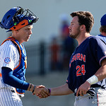 University of Florida Gators catcher/first baseman JJ Schwarz shakes hands with Auburn players as the Gators win the series over the Auburn Tigers with a 12-3 game three win.  April 28th, 2018. Gator Country photo by David Bowie.