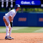 University of Florida Gators catcher/infielder Brady Smith leads off second base as the Gators win the series over the Auburn Tigers with a 12-3 game three win.  April 28th, 2018. Gator Country photo by David Bowie.