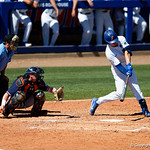 University of Florida Gators outfielder Wil Dalton swings away at a pitch as the Gators win the series over the Auburn Tigers with a 12-3 game three win.  April 28th, 2018. Gator Country photo by David Bowie.