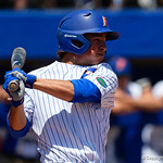 University of Florida Gators outfielder/pitcher Austin Langworthy swings away at a pitch as the Gators win the series over the Auburn Tigers with a 12-3 game three win.  April 28th, 2018. Gator Country photo by David Bowie.