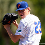 University of Florida Gators pitcher Jack Leftwich pitching as the Gators win the series over the Auburn Tigers with a 12-3 game three win.  April 28th, 2018. Gator Country photo by David Bowie.