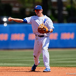 University of Florida Gators infielder/outfielder Blake Reese throws to first base as the Gators win the series over the Auburn Tigers with a 12-3 game three win.  April 28th, 2018. Gator Country photo by David Bowie.