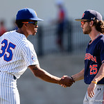 University of Florida Gators outfielder/pitcher Andrew Baker shakes hands with Auburn players as the Gators win the series over the Auburn Tigers with a 12-3 game three win.  April 28th, 2018. Gator Country photo by David Bowie.