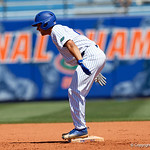 University of Florida Gators outfielder Nelson Maldonado is all smiles after hitting a 3-run rbi double to tie up the game as the Gators win the series over the Auburn Tigers with a 12-3 game three win.  April 28th, 2018. Gator Country photo by David Bowie.